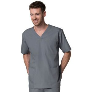 RED PANDA 5206 MEN'S V NECK SCRUB TOP W/3 POCKETS