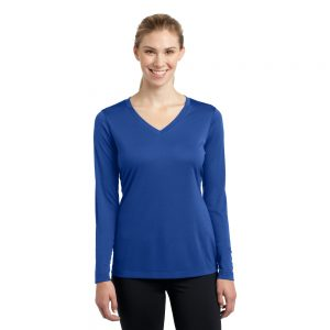 LST353LS SPORT-TEK® LADIES LONG SLEEVE POSICHARGE® COMPETITOR™ V-NECK TEE