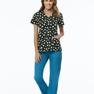 NEW STYLES 1747 CURVED V-NECK PRINT TOP