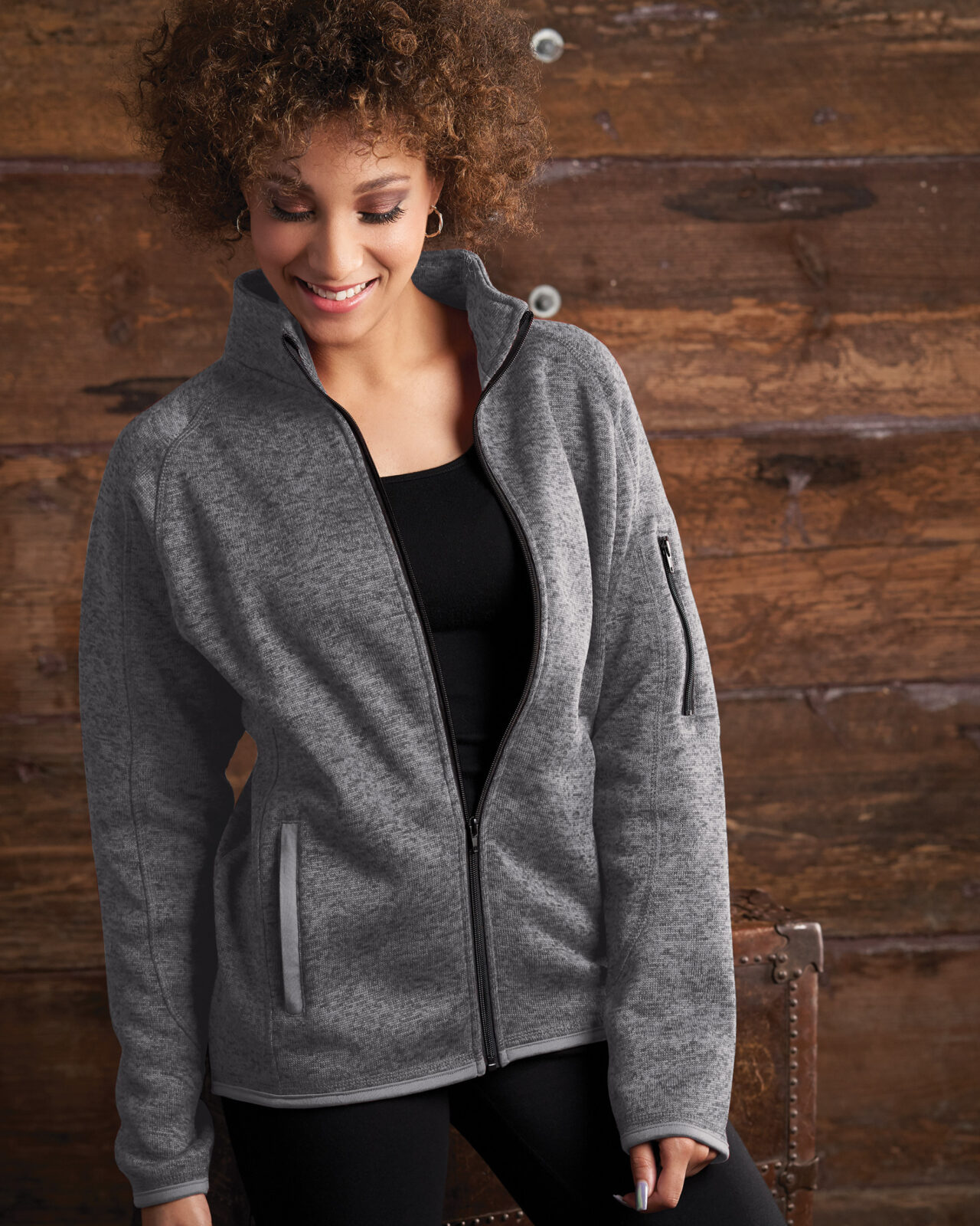 BU046 Burnside® Ladies Sweater Fleece Jacket